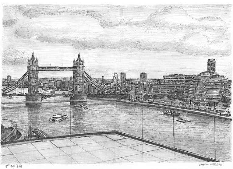 View of Tower Bridge from Landmark Place - originals and prints by Stephen Wiltshire MBE