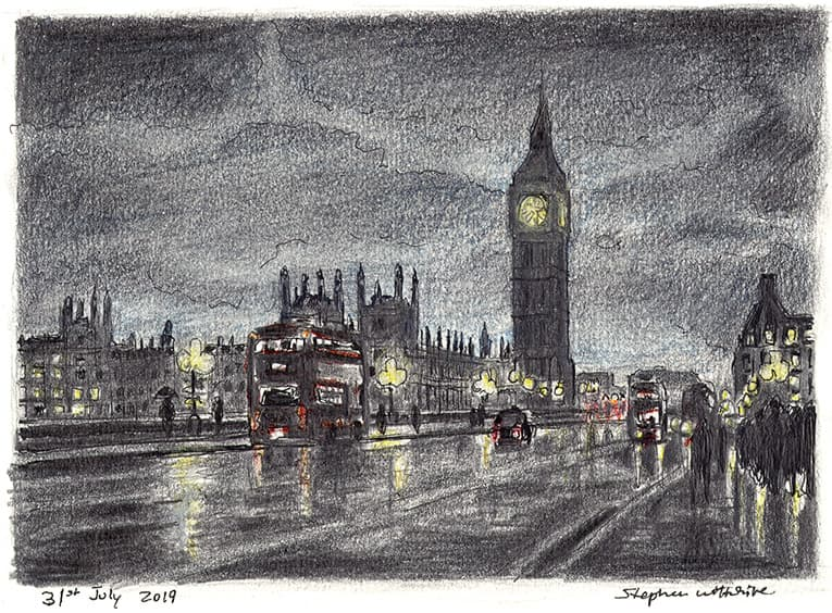 Big Ben, red bus and Houses of Parliament, London - original drawings and prints by Stephen Wiltshire