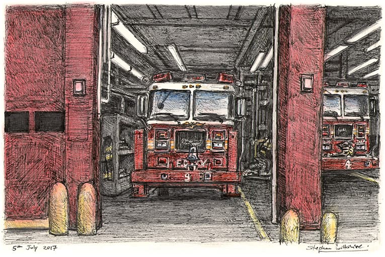 Fire truck at River Street, Lower Manhattan, New York with White mount (A4) in Flat grain black frame for A4 mounts (J90)