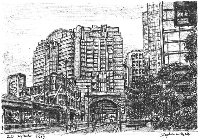 Alban Gate, London Wall - original drawings and prints by Stephen Wiltshire