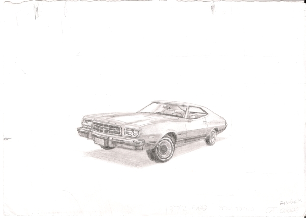 1973 Ford Gran Torino Sports Coupe - original drawings and prints by Stephen Wiltshire
