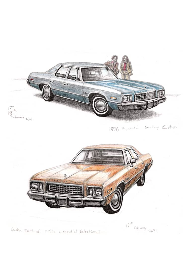 1976 Plymouth Gran Fury with White mount (A4) in Flat grain black frame for A4 mounts (J90)