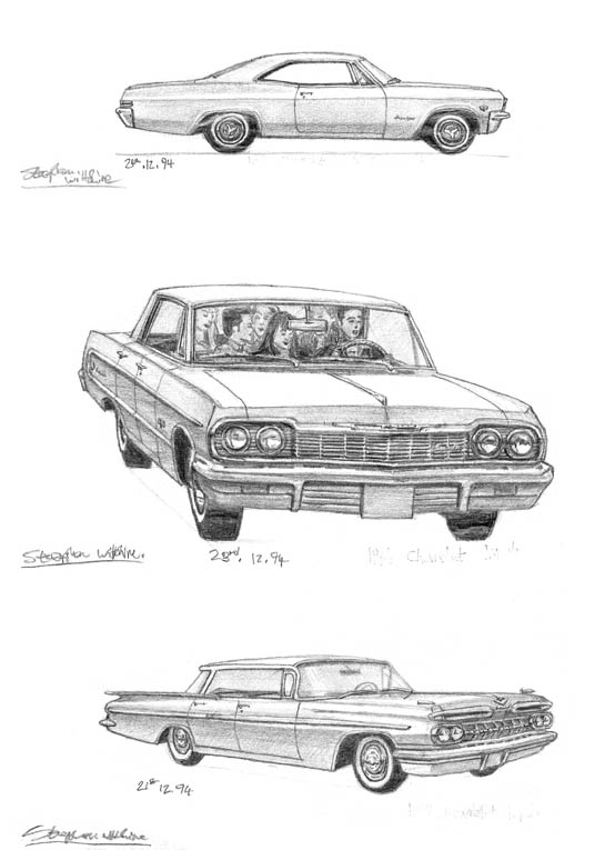 1959-1964-1965 Chevy Impala - original drawings and prints by Stephen Wiltshire