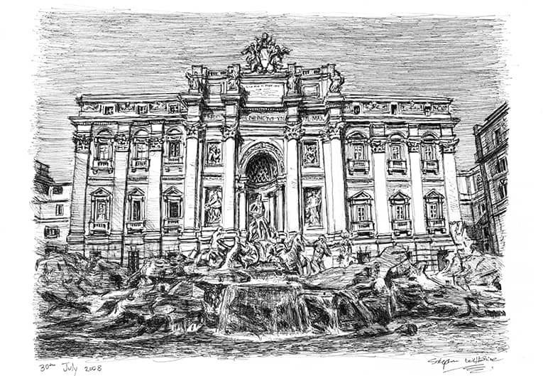 Trevi Fountain, Rome (A4 print) with White mount (A4) in Flat grain black frame for A4 mounts (J90)