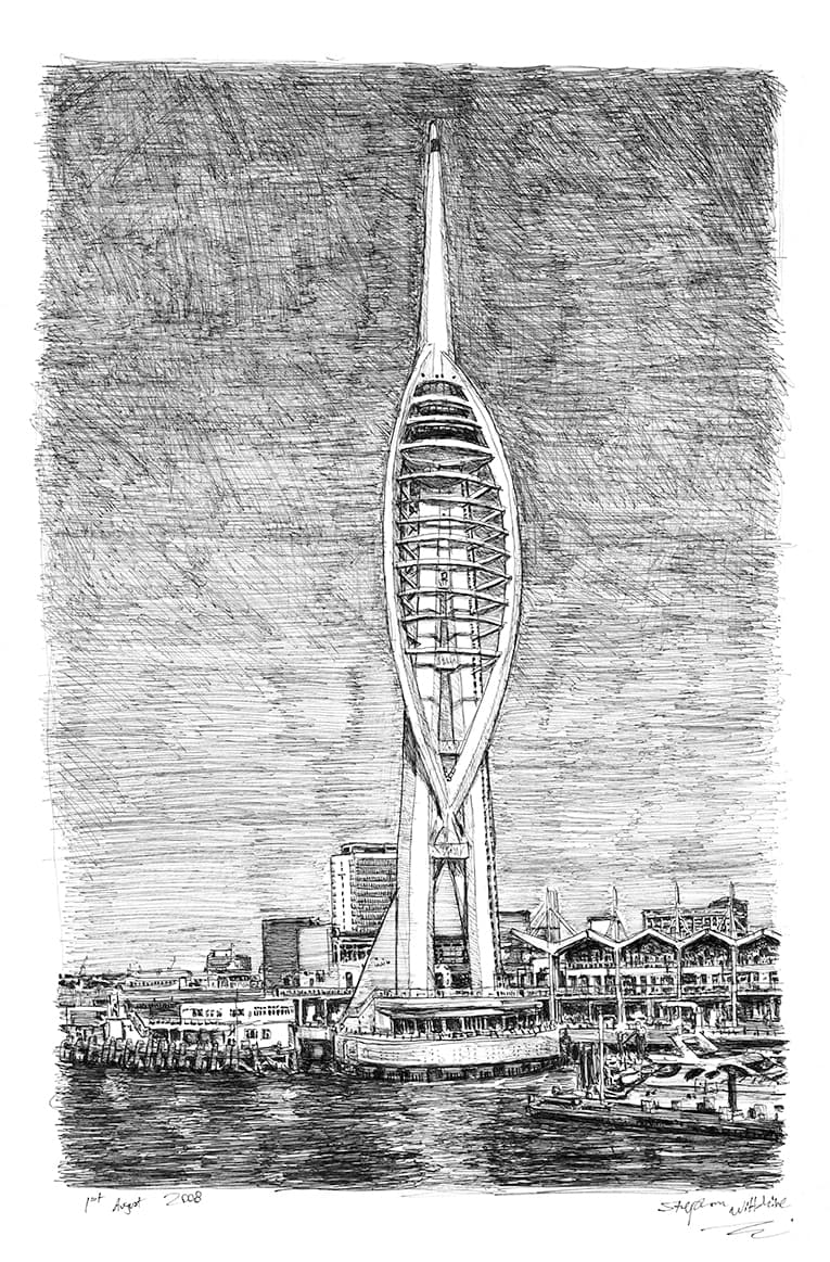 Spinnaker Tower, Portsmouth - original drawings and prints by Stephen Wiltshire