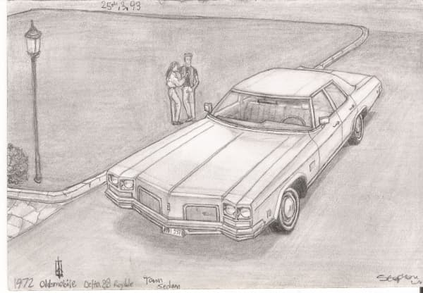 1972 Oldsmobile Delta 88 Royale Town Sedan - originals and prints by Stephen Wiltshire MBE
