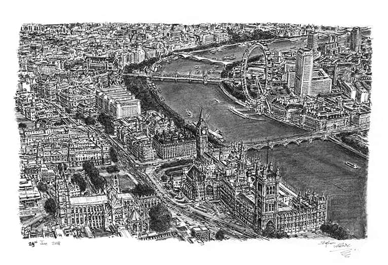 Aerial view of Houses of Parliament and Westminster Abbey - originals and prints by Stephen Wiltshire MBE