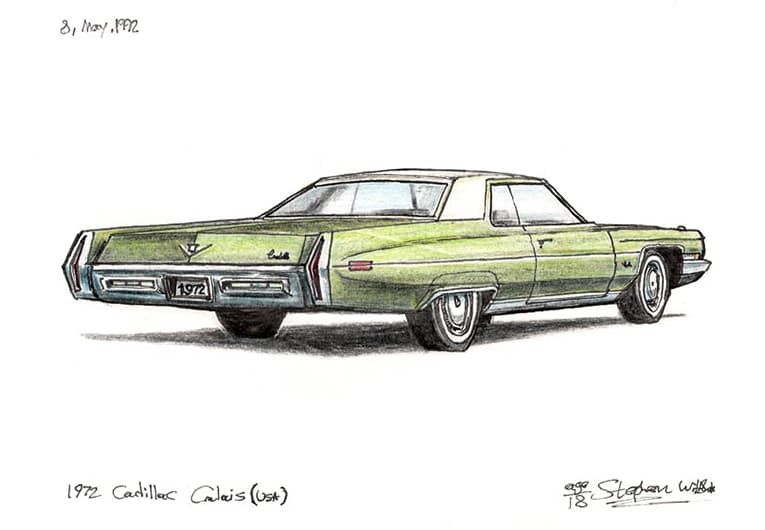 1972 Cadillac Calais (A4 print) with White mount (A4) in Flat grain black frame for A4 mounts (J90)