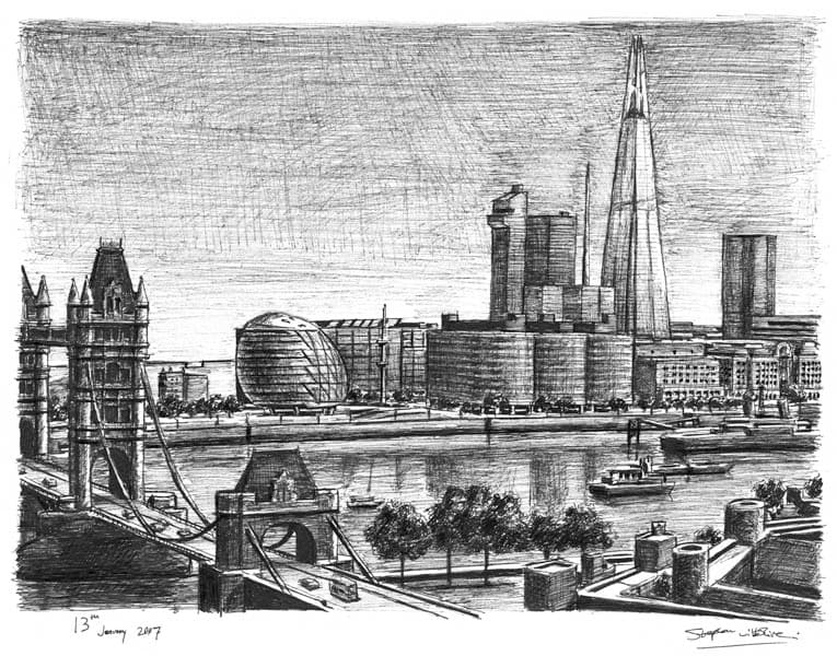 London Bridge Tower Shard of Glass - Original Drawings and Prints for Sale