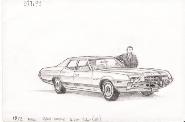 1972 Ford Gran Torino - originals and prints by Stephen Wiltshire MBE
