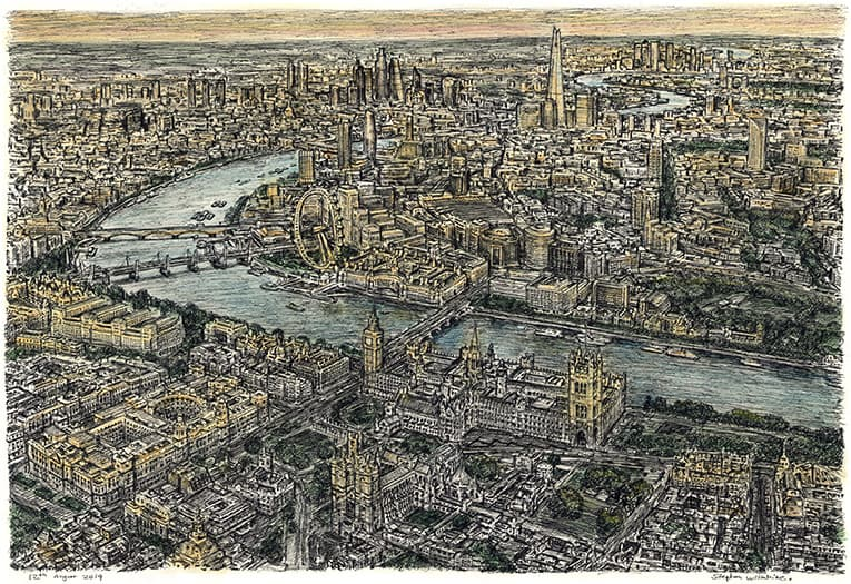 Aerial view of London (Limited Edition of 50) - original drawings and prints by Stephen Wiltshire