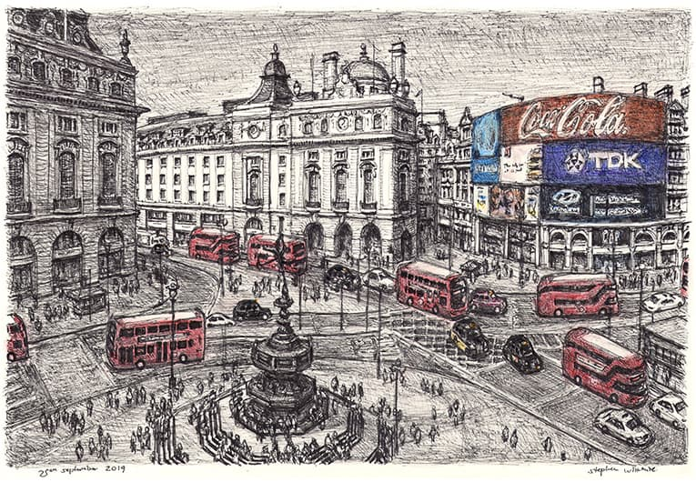 Piccadilly Circus, London with White mount (A4) in Flat grain black frame for A4 mounts (J90)
