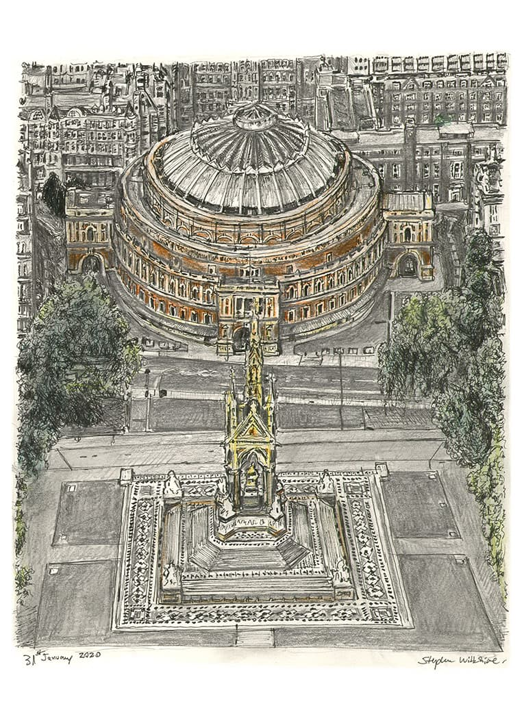 Aerial view of Royal Albert Hall with White mount (A3) in Flat hessian black frame for A3 mounts (P70)