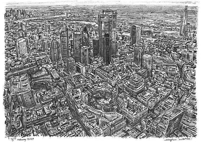 Aerial view of City of London with White mount (A4)