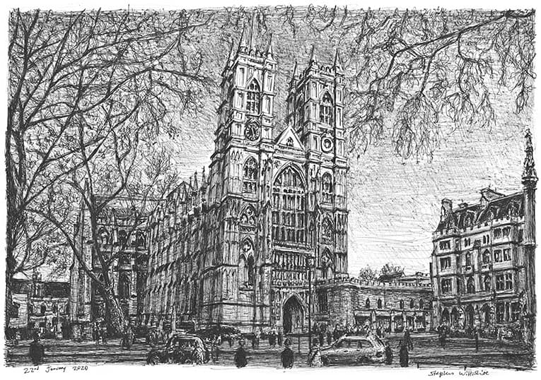 Westminster Abbey, London with White mount (A3) in Cushioned Black frame for A3 mounts (C59)