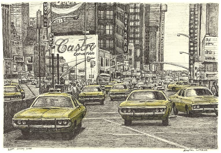 NYC yellow cabs at Time Square with White mount (A2) in Flat matt grain white frame for A2 mounts (R97)