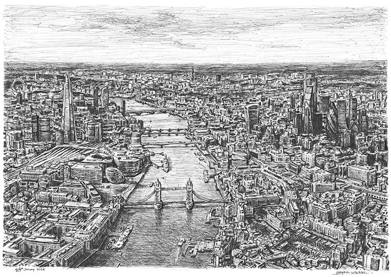 Aerial view of Tower Bridge and River Thames, London with White mount (A2) in Flat grain black frame for A2 mounts (J90)