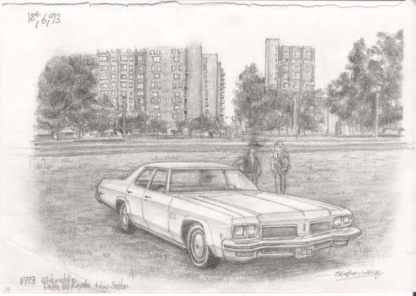 1973 Oldmobile Delta 88 Royale - originals and prints by Stephen Wiltshire MBE