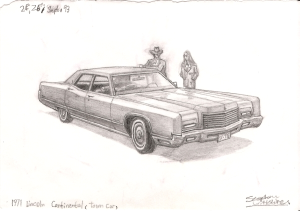 1971 Lincoln Continental Town Car - original drawings and prints by Stephen Wiltshire