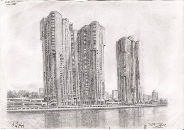 River Park Towers - Bronx NY - original drawings and prints by Stephen Wiltshire