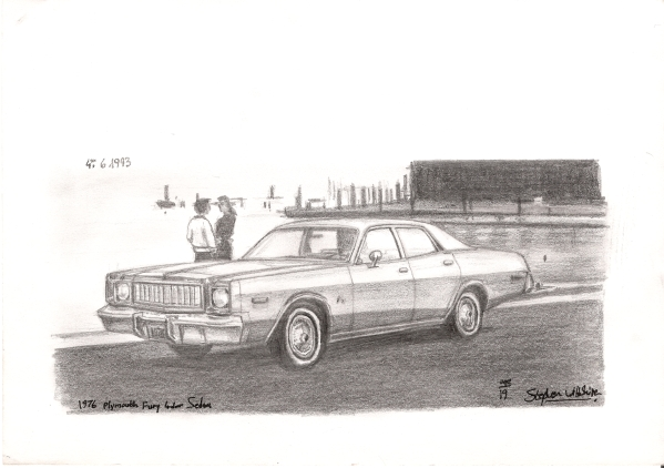 1976 Plymouth Fury 4 door Sedan - original drawings and prints by Stephen Wiltshire