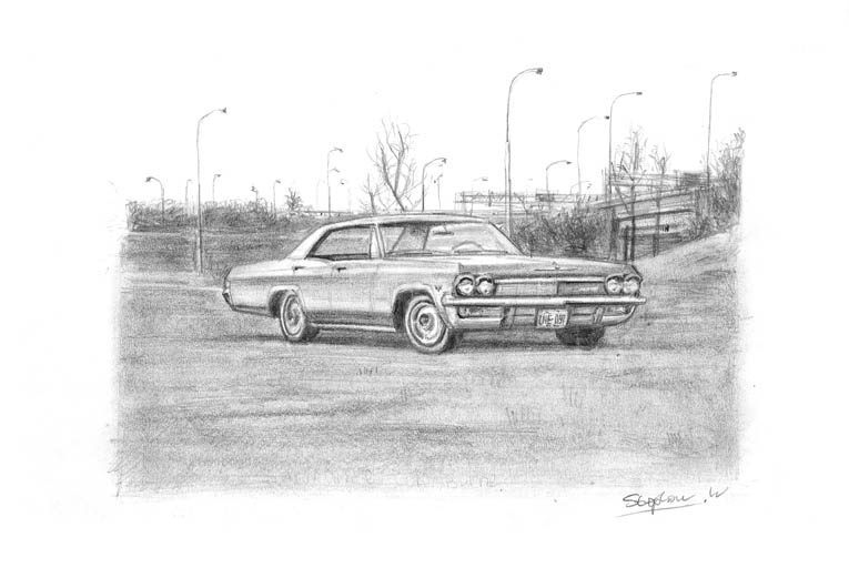 1965 Chevrolet Sports Sedan - original drawings and prints by Stephen Wiltshire