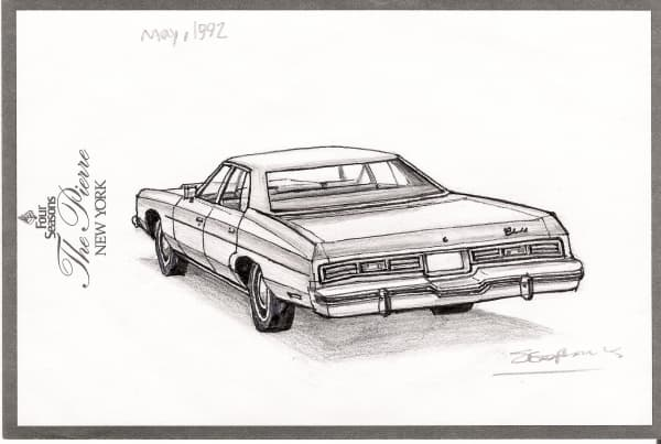 1975 Chevy Impala Sedan - original drawings and prints by Stephen Wiltshire