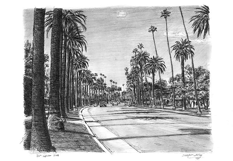 Beverly Drive in Beverly Hills with White mount (A3)