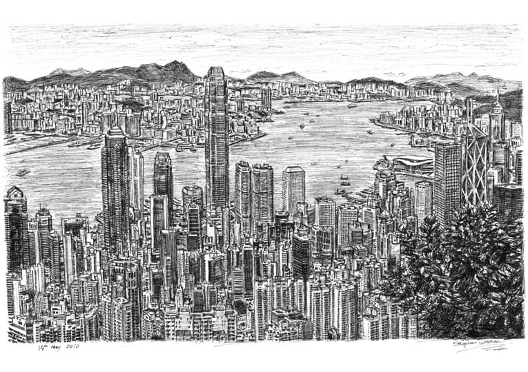 Hong Kong Skyline 2010 - drawings and paintings by Stephen Wiltshire MBE