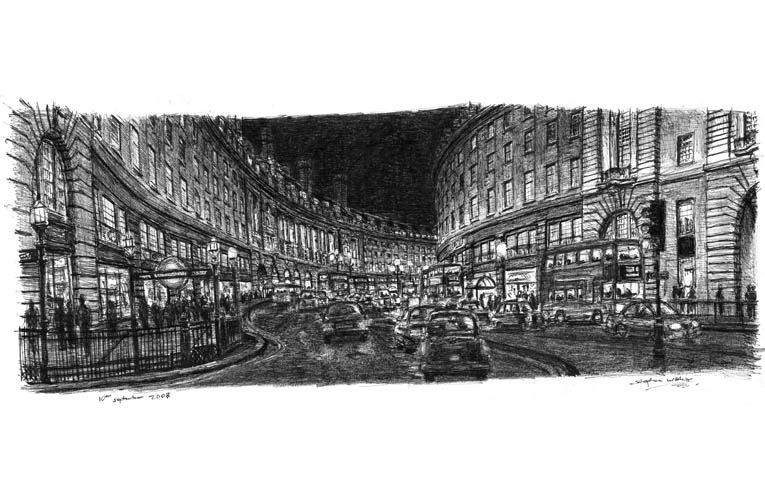 Regent Street at night - originals and prints by Stephen Wiltshire MBE