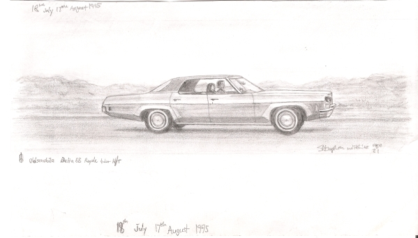 Oldsmobile Delta 88 Royale 4 door Hard Top - original drawings and prints by Stephen Wiltshire