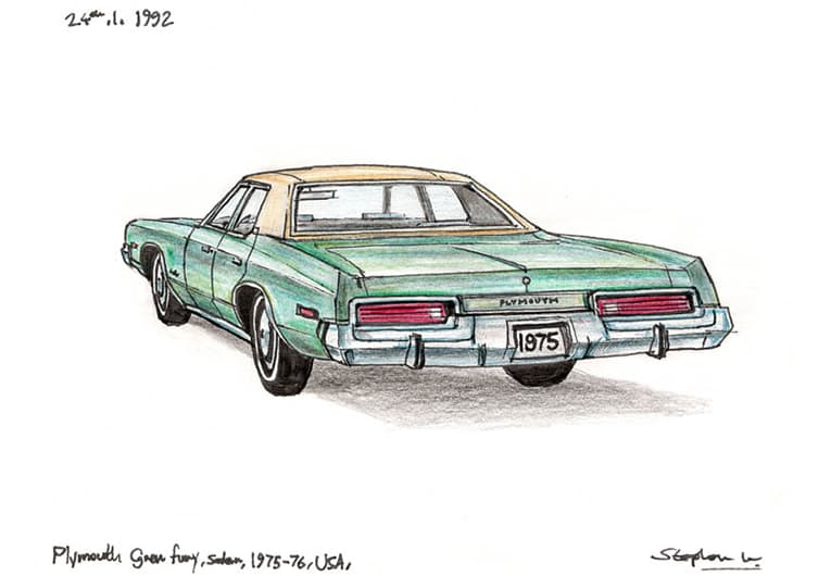1975 Plymouth Gran Fury Sedan - originals and prints by Stephen Wiltshire MBE