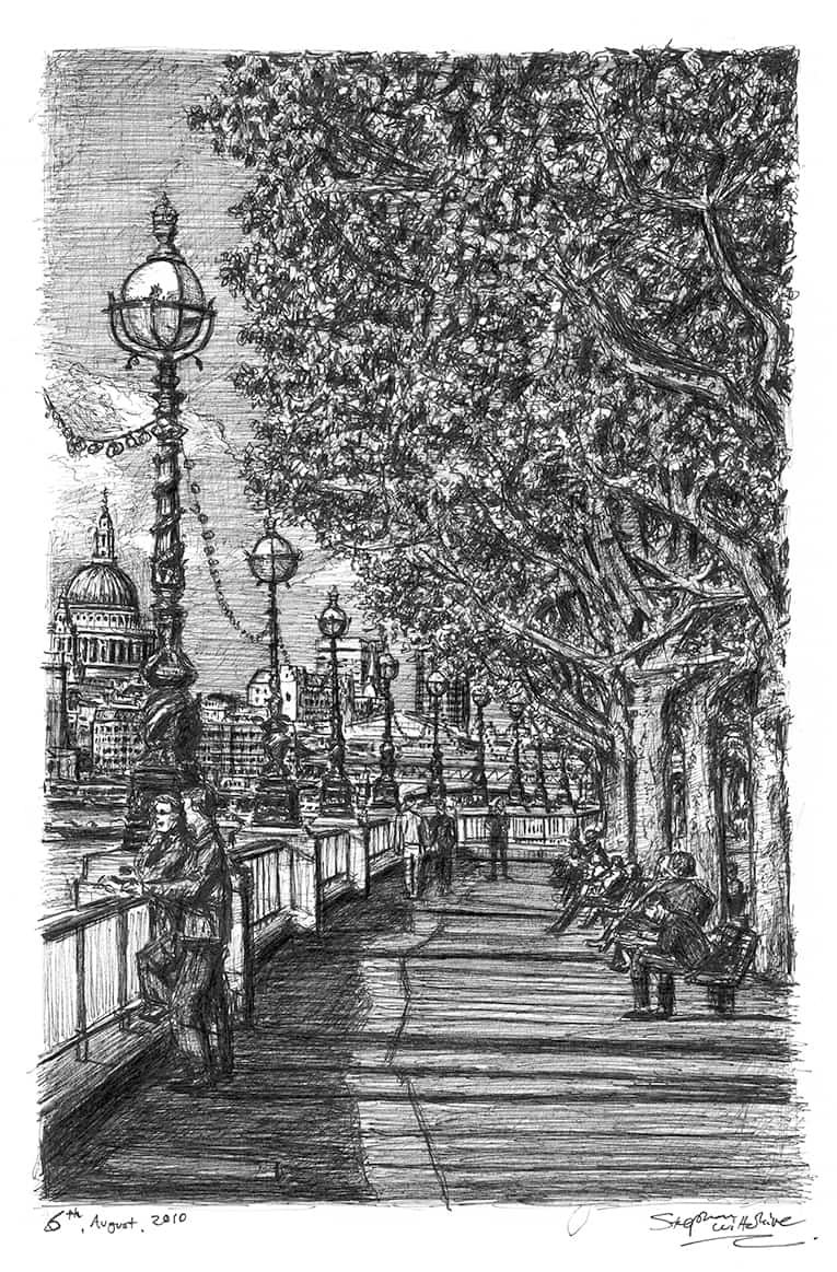 Riverside walk on the Southbank (A4 print) with White mount (A4) in Flat grain black frame for A4 mounts (J90)