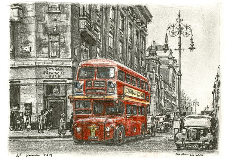The first London bus entering Oxford street (1956) - original drawings and prints by Stephen Wiltshire