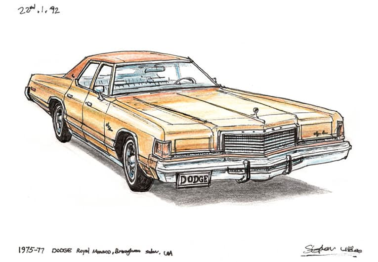 1975-77 Dodge Royal Monaco Brougham Sedan with White mount (A4) in Flat grain black frame for A4 mounts (J90)