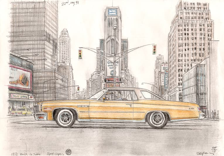 1976 Buick Le Sabine Sport Coupe - drawings and paintings by Stephen Wiltshire MBE