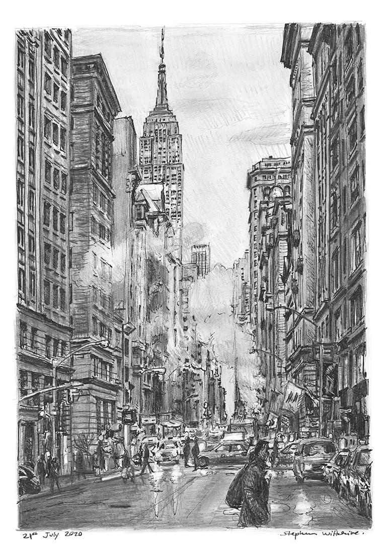 5th Avenue street scene on a rainy day with White mount (A3) in Flat hessian black frame for A3 mounts (P70)