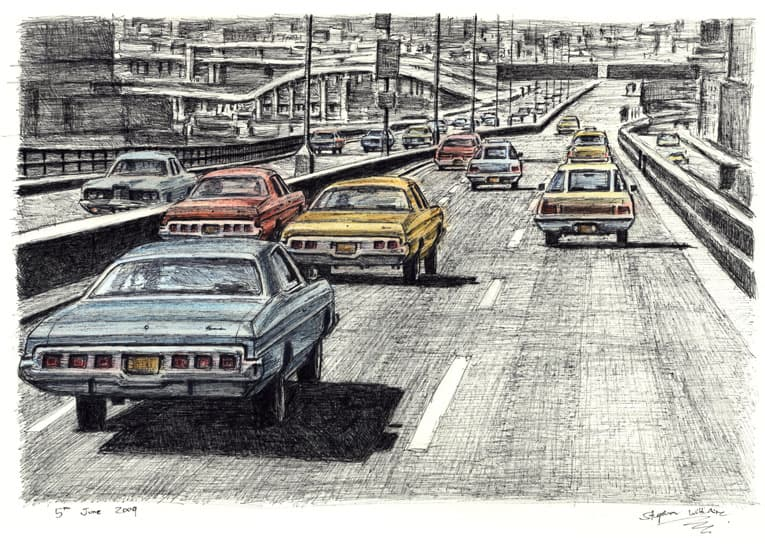 5 Big Chevy cars on the New York freeway - originals and prints by Stephen Wiltshire MBE