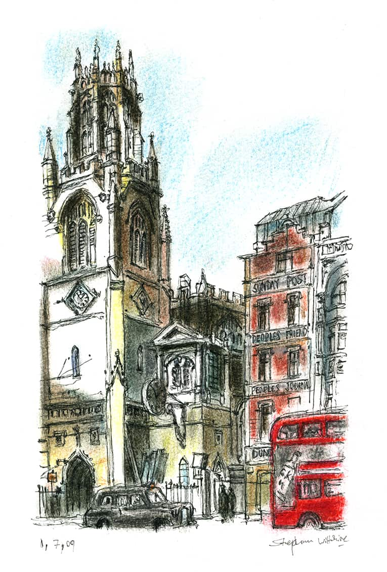 St Dunstans Church on Fleet Street, London - Original Drawings and Prints for Sale