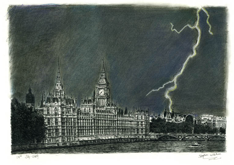 Lightning Strikes Parliament - original drawings and prints by Stephen Wiltshire