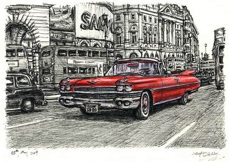 1959 Cadillac Convertible at Piccadilly Circus - original drawings and prints by Stephen Wiltshire