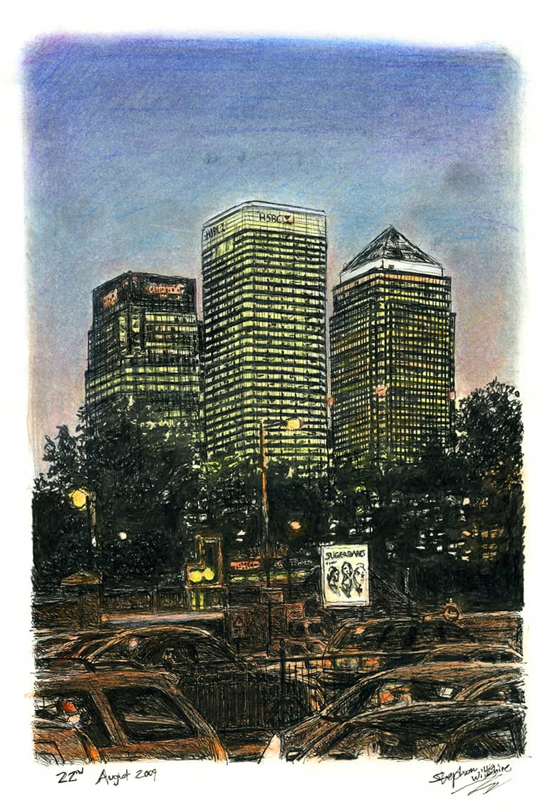 Canary Wharf at night - Original Drawings and Prints for Sale
