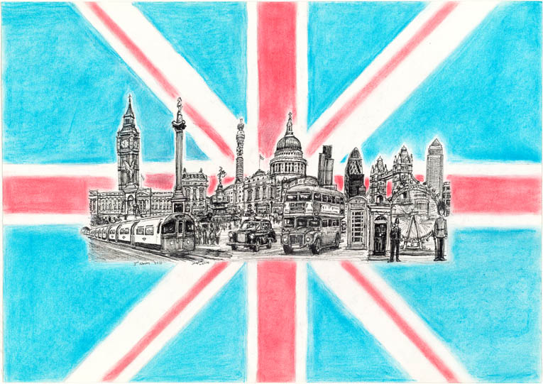 London Montage Flag - drawings and paintings by Stephen Wiltshire MBE
