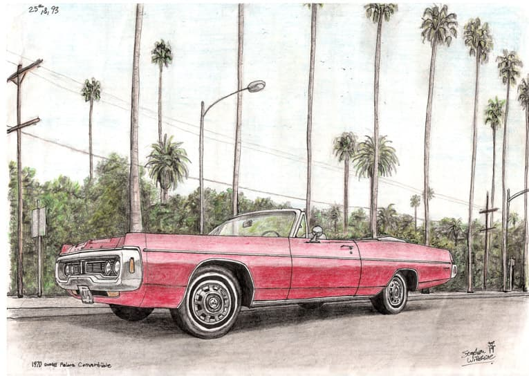 1970 Dodge Polara Convertible - original drawings and prints by Stephen Wiltshire
