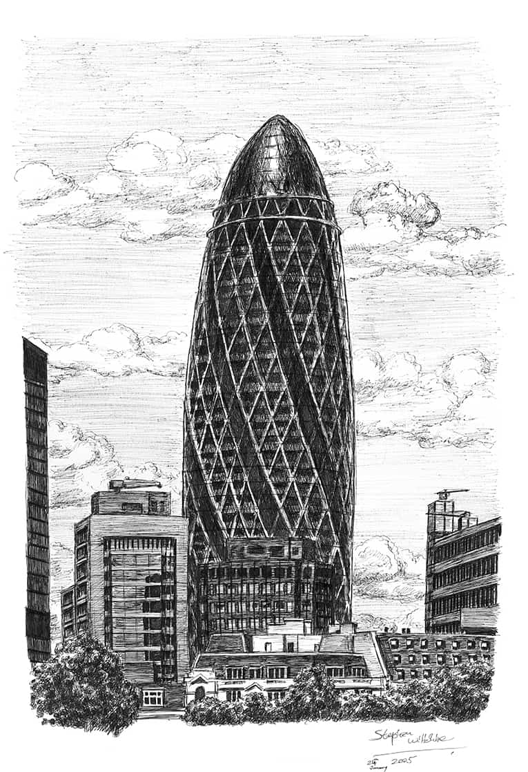 Gherkin Building London - originals and prints by Stephen Wiltshire MBE