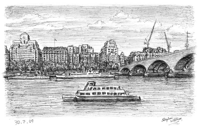 At the Southbank in springtime - original drawings and prints for sale