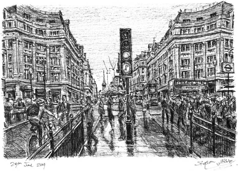 Oxford Street in the rain - original drawings and prints by Stephen Wiltshire