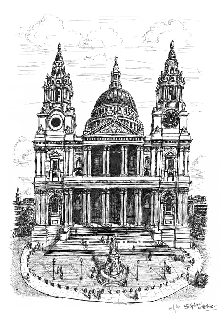 St Pauls Cathedral London - original drawings and prints by Stephen Wiltshire