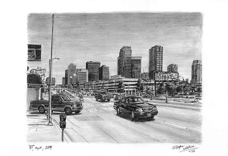 Santa Monica Boulevard with White mount (A3) in Flat hessian black frame for A3 mounts (P70)