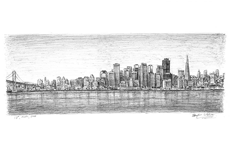 San Francisco Skyline (A4 print) with White mount (A4) in Flat grain black frame for A4 mounts (J90)